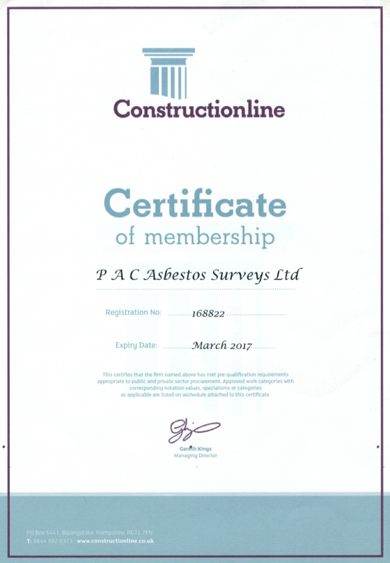 Pac asbestos surveys for business and homeowners west yorkshire construction line certificate yadclub Image collections